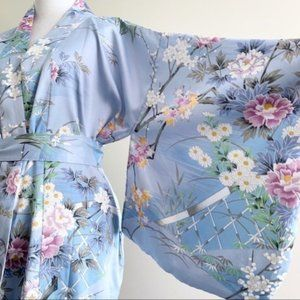 Light Blue Floral Japanese Kimono One Size